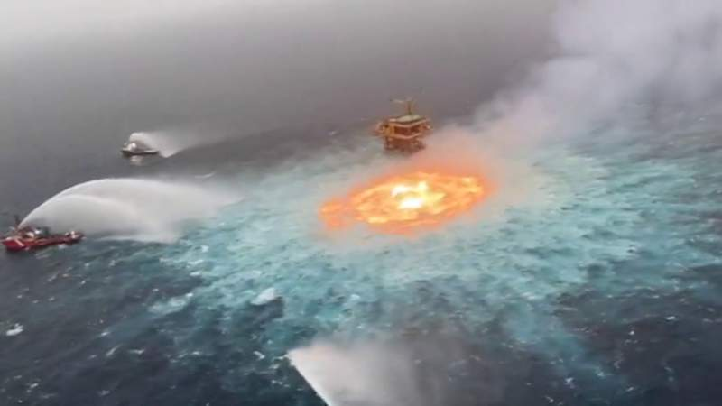WATCH: Undersea gas pipeline rupture causes fire in Gulf of Mexico