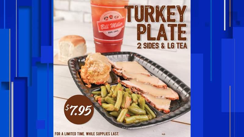 Bill Miller Bar-B-Q turkey plate