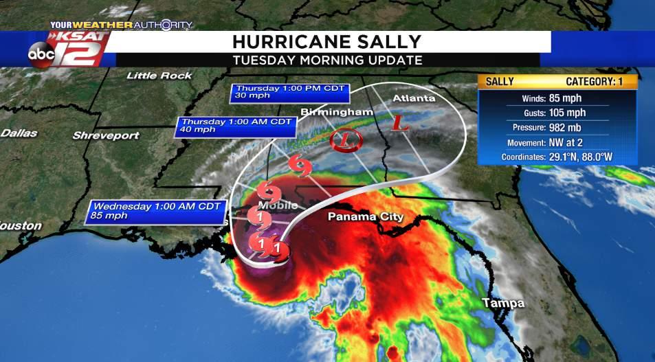 Hurricane Sally Expected To Make Landfall Tuesday Night Wednesday Morning