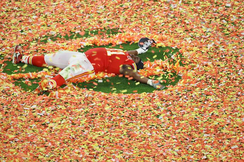 Derrick Nnadi #91 of the Kansas City Chiefs celebrates after defeating the San Francisco 49ers 31-20 in Super Bowl LIV.
