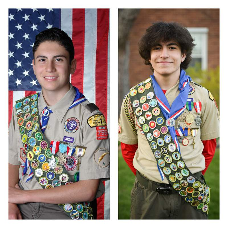 George Atala (left) earned all 137 merit badges offered by the Boy Scouts of America earlier this year, while Andrew (right) will soon. Contributed photo