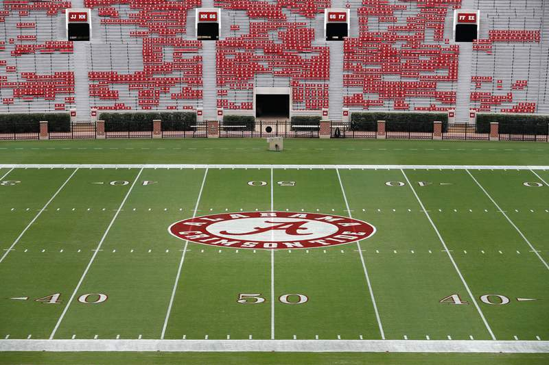 A general view of Bryant-Denny Stadium and the University of Alabama Crimson Tide logo are seen prior to an NCAA college football game between the University of Alabama Crimson Tide and the Colorado State University Rams on Saturday, Sept. 16, 2017, in Tuscaloosa, Ala.University of Alabama won 41-23. (Aaron M. Sprecher via AP)