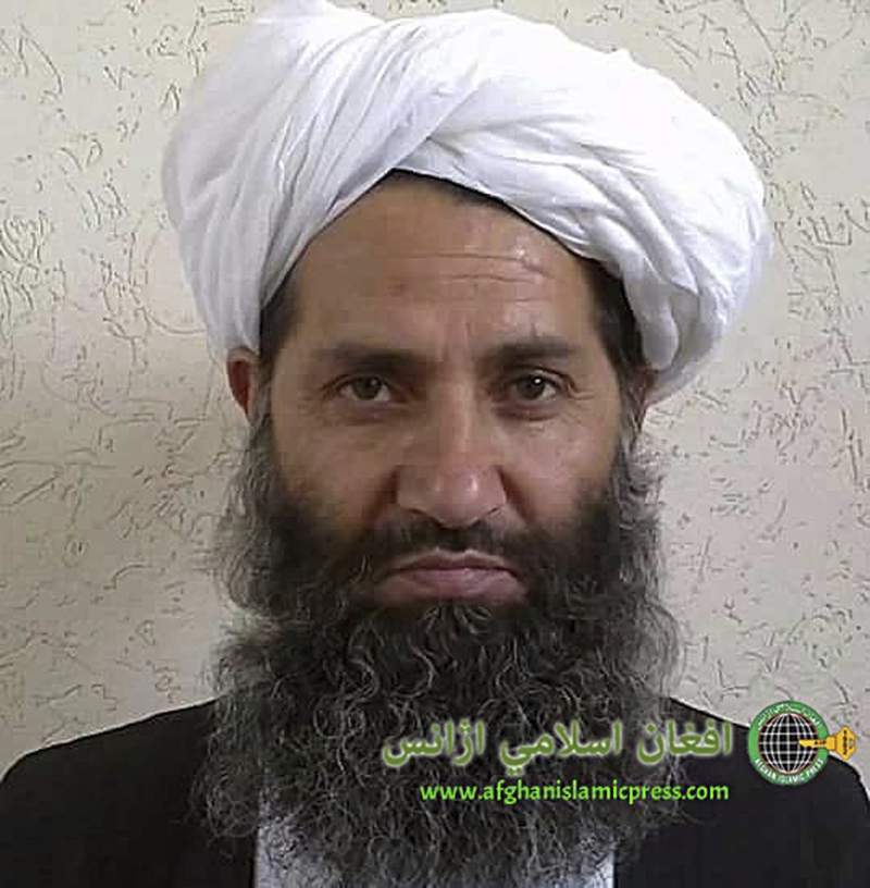 FILE - In this undated photo from an unknown location, released in 2016, the leader of the Afghanistan Taliban Mawlawi Hibatullah Akhundzada poses for a portrait. Senior Afghan leaders are in the Middle Eastern state of Qatar talking peace with the Taliban, whose leader,  Akhundzada, on Sunday, July 18, 2021, issued a statement saying the insurgent movement wants a political settlement to Afghanistans decades of war. (Afghan Islamic Press via AP, File)