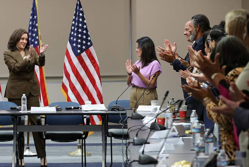 Vice President Kamala Harris met in Washington D.C. with Democratic members of the Texas state legislature who left the state in an effort to slow changes to election laws and voter access, on July 13, 2021.
