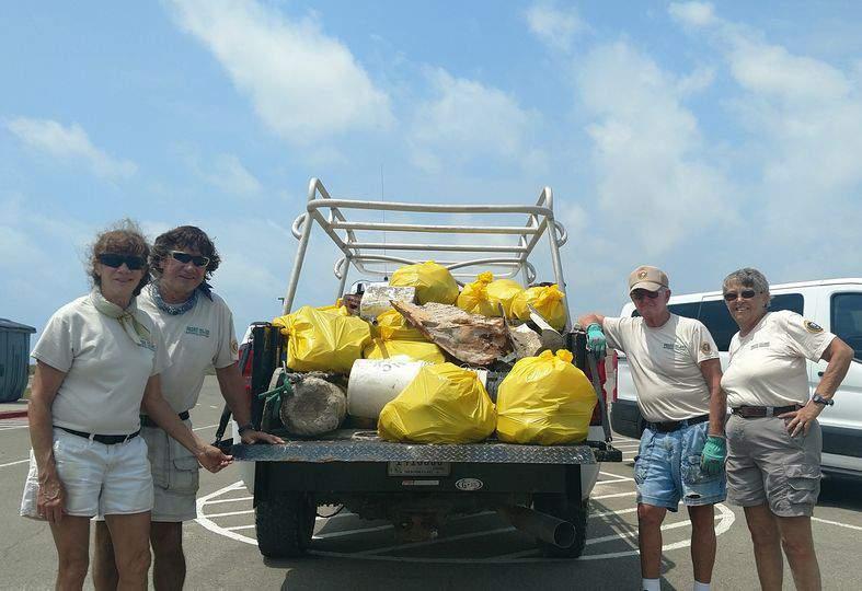 Trash bags collected along Padre Island National Seashore.