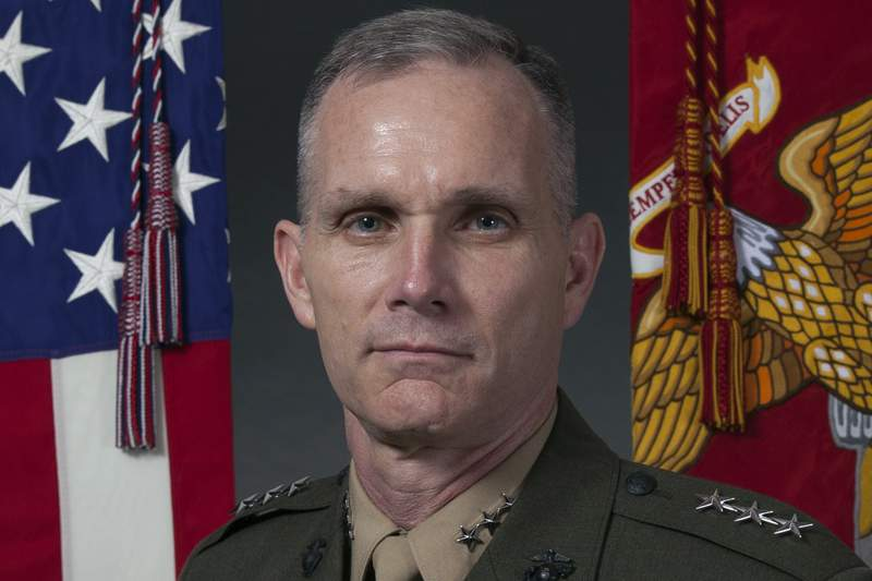 In this image provided by the U.S. Marine Corps, then-Marine Corps Lt. Gen. Gary L. Thomas, deputy on Aug. 8, 2016. Thomas, now the assistant commandant of the Marine Corps, has tested positive for the coronavirus, days after he and members of the Joint Chiefs of Staff were in a Pentagon meeting with a Coast Guard leader who was infected with the virus.  (Lance Cpl. Paul A. Ochoa/Marine Corps via AP)