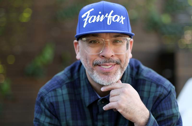 """Comedian Jo Koy poses for a portrait in Los Angeles on March 2, 2021, to promote his book Mixed Plate: Chronicles of an All-American Combo."""" (AP Photo/Chris Pizzello)"""