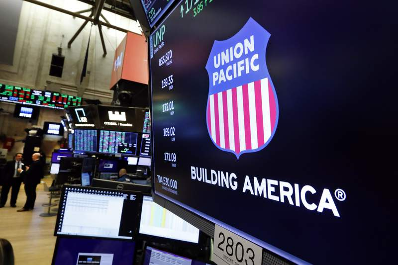 FILE - In this Sept. 13, 2019, file photo the logo for Union Pacific appears above a trading post on the floor of the New York Stock Exchange.  On Thursday, Oct. 22, 2020, Union Pacifics third-quarter profit declined 12%, but the volume of shipments it handled surged as the economy rebounded from the worst of the virus-related shutdowns earlier this year. (AP Photo/Richard Drew, File)