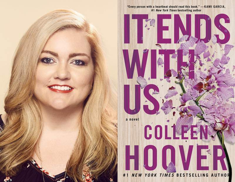 """This combination of photos shows author Colleen Hoover, left, and a cover image for her book """"It Ends With Us."""" (Chad Griffith/Atria via AP, left, and Atria via AP)"""