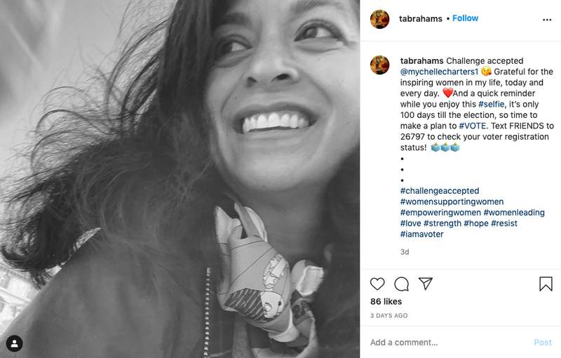 This image provided by Tara Abrahams shows her Instagram post with the #challengeaccepted joining female users across the United States, flooding the photo-sharing app with black-and-white images. The official goal: a show of support for other women. Abrahams, the philanthropic advisor from New York added a caption encouraging people to check their voter registration status and make a plan to vote in November. (Tara Abrahams via AP)