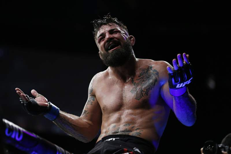 SUNRISE, FLORIDA - APRIL 27:  Mike Perry celebrates after defeating Alex Oliveira of Brazil during their welterweight bout at UFC Fight Night at BB&T Center on April 27, 2019 in Sunrise, Florida. (Photo by Michael Reaves/Getty Images)