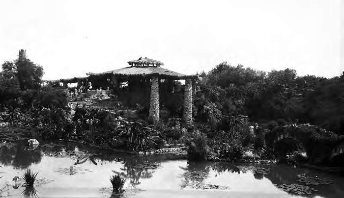 View of the lily pond and pavilion in the sunken garden. Photo circa 1927-1931.