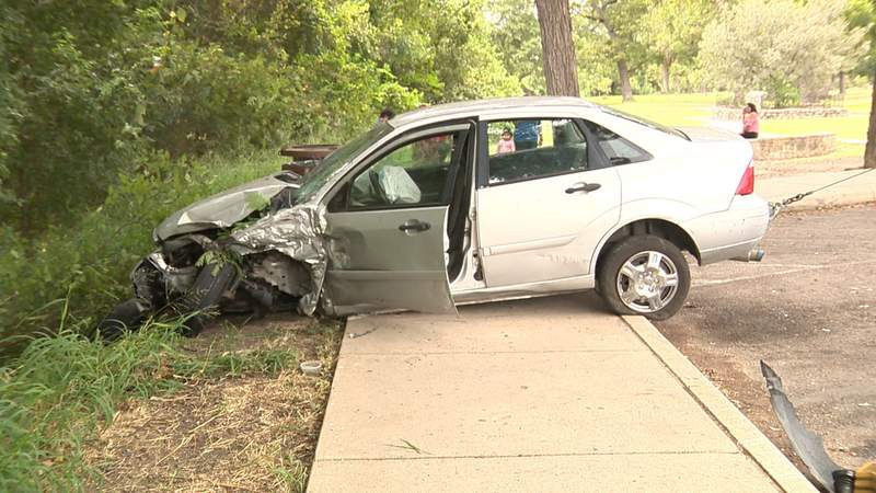 Police say an unlicensed teen lost control and drove into the San Antonio River on Sept. 13, 2021.