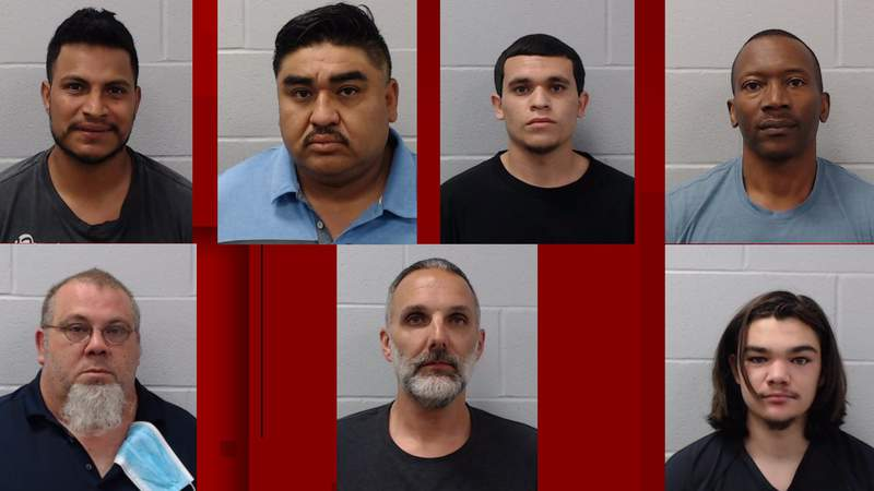 Seven men were arrested in connection with a prostitution sting operation in Hays County.