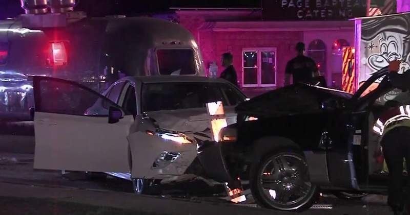 Several people are now in San Antonio police custody following an overnight head-on crash, just north of downtown.