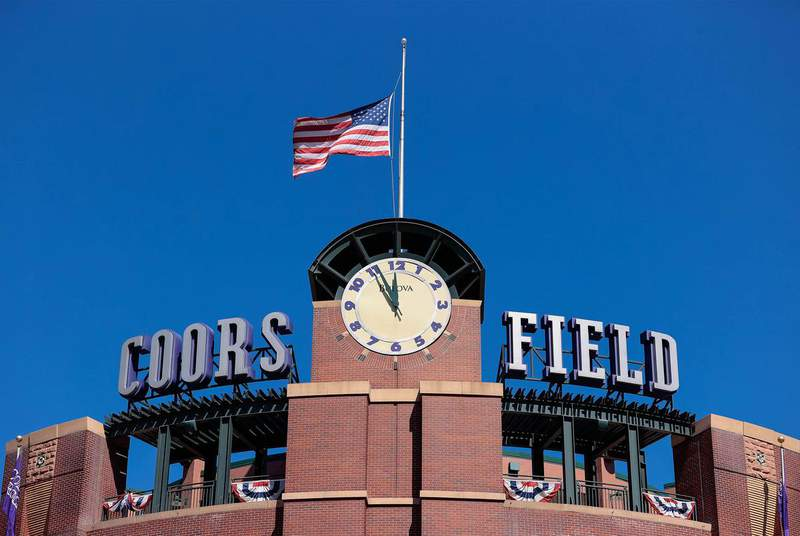 The clock tower at Coors Field before the Opening Day game between the Colorado Rockies and the Los Angeles Dodgers. April 1, 2021. (Credit: Isaiah J. Downing-USA TODAY Sports via REUTERS)