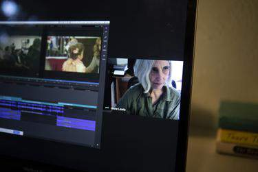 University of Texas at Austin lecturer Anne Lewis will teach her video editing class remotely during the COVID-19 outbreak. (Miguel Gutierrez Jr./The Texas Tribune)