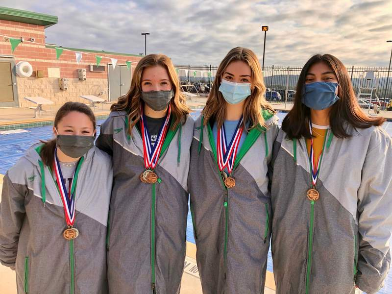 Members of the Canyon Lake High School girls 200-yard freestyle relay pictured from left Caleigh Krystyniak, Shleby Palmer, Danielle Carty and Danielle Zulueta.