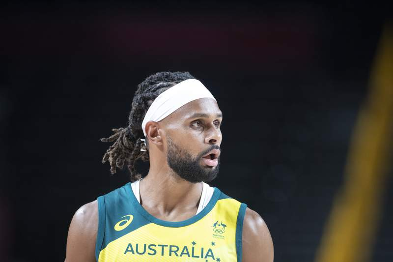 Patty Mills #5 of Australia during the Australia V Nigeria basketball preliminary round match at the Saitama Super Arena at the Tokyo 2020 Summer Olympic Games on July 25, 2021 in Tokyo, Japan. (Photo by Tim Clayton/Corbis via Getty Images)