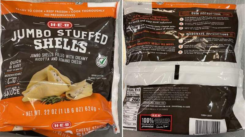 H-E-B Jumbo Stuffed Shells – 22 Ounce have been recalled.