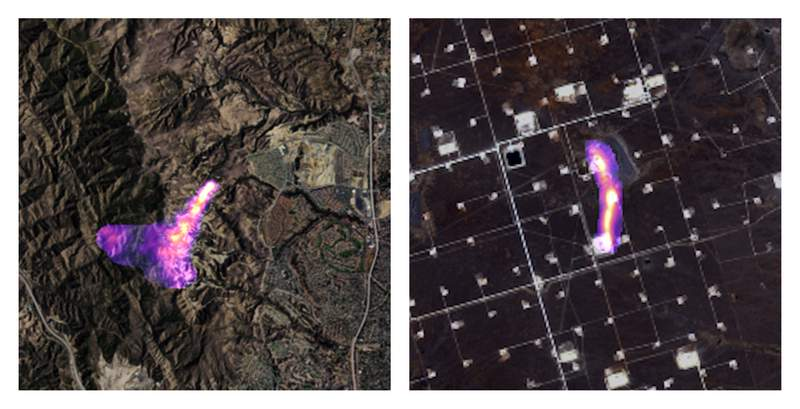 This combination of satellite images provided by the Kayrros data analytics company shows methane plumes, captured using specialized sensors overlaid on optical photos, rising from natural gas sites in Aliso Canyon north of Los Angeles on Oct. 26, 2015, left, and the Permian Basin in Texas on Nov. 8, 2020. According to a United Nations report released on Thursday, May 6, 2021, cutting the super-potent greenhouse gas methane quickly and dramatically is the worlds best hope to slow and limit the worst of global warming. (Kayrros via AP)
