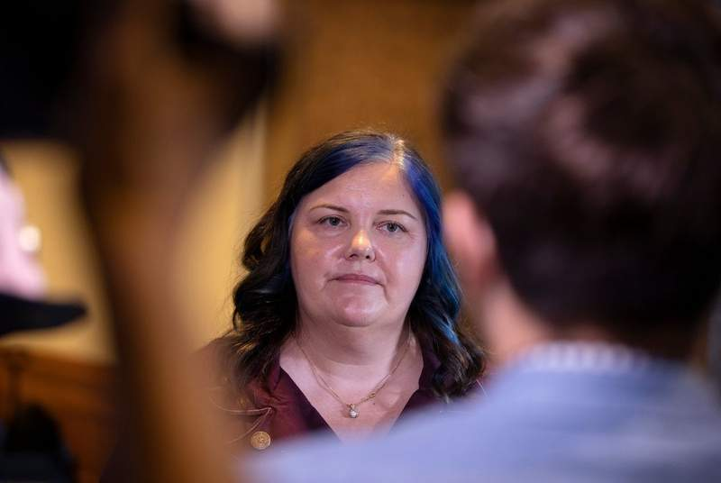 State Rep. Michelle Beckley, D-Carrollton, speaks to reporters at the General Investigation committee hearing at the Capitol. Beckley was one of the state representatives mentioned during the June 12 meeting between House Speaker Dennis Bonnen and Michael Quinn Sullivan.