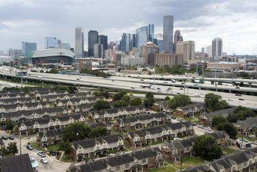 An aerial view of the Clayton Homes complex near I-45 in Houston on Sept. 16, 2019.      Miguel Gutierrez Jr./The Texas Tribune