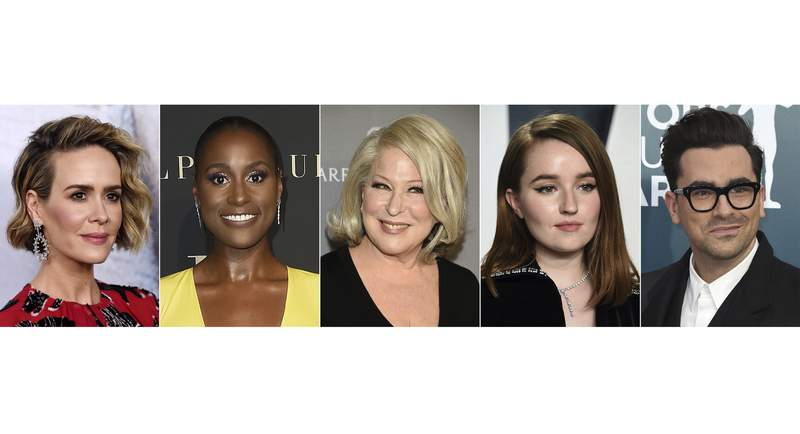 "This combination of images shows actors, from left, Sarah Paulson, Issa Rae, Bette Midler, Kaitlyn Dever and Dan Levy who will star in the HBO comedy ""Coastal Elites,"" premiering September 12. (AP Photo)"
