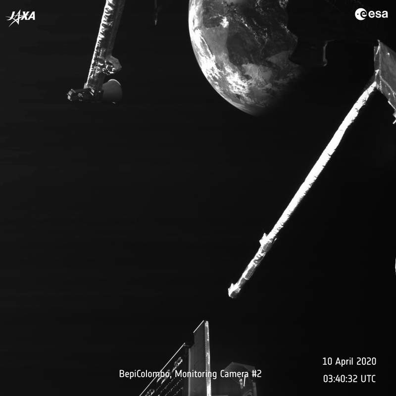 This photo made available by the European Space Agency and the Japan Aerospace Exploration Agency shows the earth as seen by the BepiColombo spacecraft on April 10, 2020. The Mercury-bound mission swooped past Earth, tweaking its round-about path to the solar systems smallest and innermost planet. (ESA/JAXA via AP)