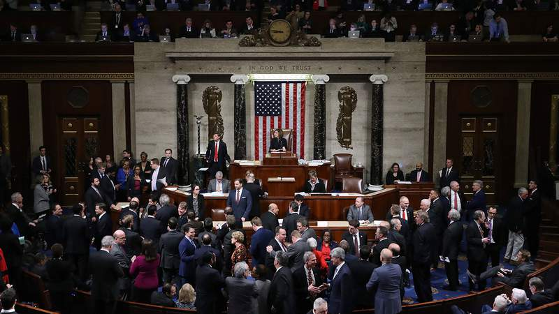 Speaker of the House Nancy Pelosi (D-CA) presides over voting on the second article of impeachment of U.S. President Donald Trump at in the House Chamber at the U.S. Capitol December 18, 2019 in Washington.