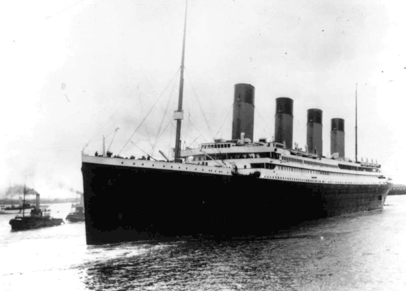 FILE - In this April 10, 1912 file photo the Titanic leaves Southampton, England on her maiden voyage. The U.S. government will try to stop a company's planned salvage mission to retrieve the Titanics wireless telegraph machine, arguing the expedition would break federal law and a pact with Britain to leave the iconic shipwreck undisturbed. U.S. attorneys filed a legal challenge before a federal judge in Norfolk, Va, late Monday, June 8, 2020. The expedition is expected to occur by the end of August. (AP Photo/File)