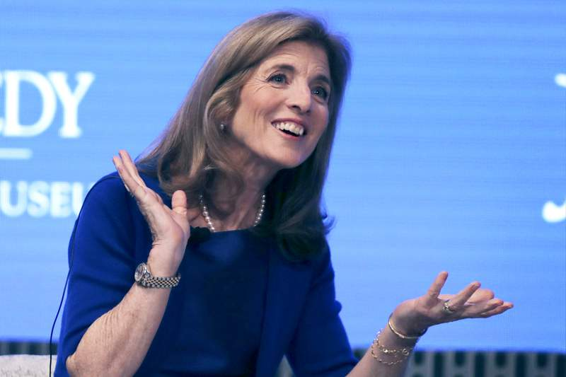 FILE - This June 19, 2019 file photo shows Caroline Kennedy during the JFK Space Summit at the John F. Kennedy Presidential Library in Boston. President Joe Biden is giving serious consideration to nominating Caroline Kennedy, the daughter of President John F. Kennedy who served as ambassador to Japan during the Obama administration, to serve in a high-profile ambassadorial role. That's according to a person familiar with the White House deliberations. Biden is considering nominating her for another posting in Asia but details of where she might be asked to serve are still in flux.  (AP Photo/Charles Krupa, File)