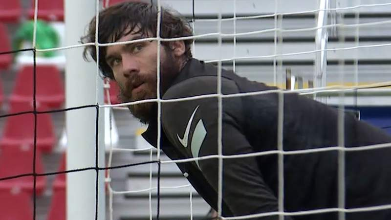 Goalkeeper Matt Cardone warming up prior to San Antonio FC's home match against Colorado Springs Switchbacks FC on May 1, 2021.