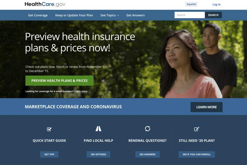 FILE - This file image provided by U.S. Centers for Medicare & Medicaid Service shows the website for HealthCare.gov. As COVID-19 spreads uncontrolled in many places, a coalition of states, health care groups and activists is striving to drum up Obamacare sign-ups among a growing number of Americans uninsured in perilous times. (U.S. Centers for Medicare & Medicaid Service via AP)
