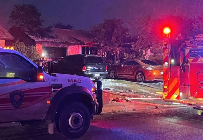 Three pets were killed and an East Side home was nearly destroyed after it went up in flames, according to the San Antonio Fire Department.