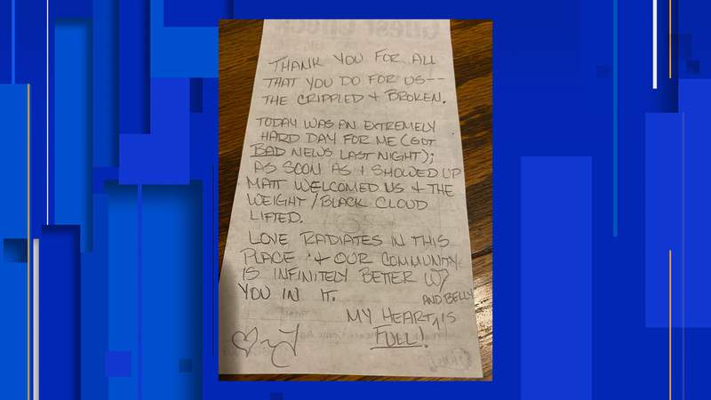 Comfort Cafe San Antonio took to social media Saturday and shared a note they received from a customer who was more than grateful for their service.