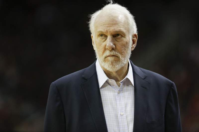 San Antonio Spurs head coach Gregg Popovich watches from the sideline during the first half of an NBA basketball game against the Houston Rockets, Monday, Dec. 16, 2019, in Houston. (AP Photo/Eric Christian Smith)