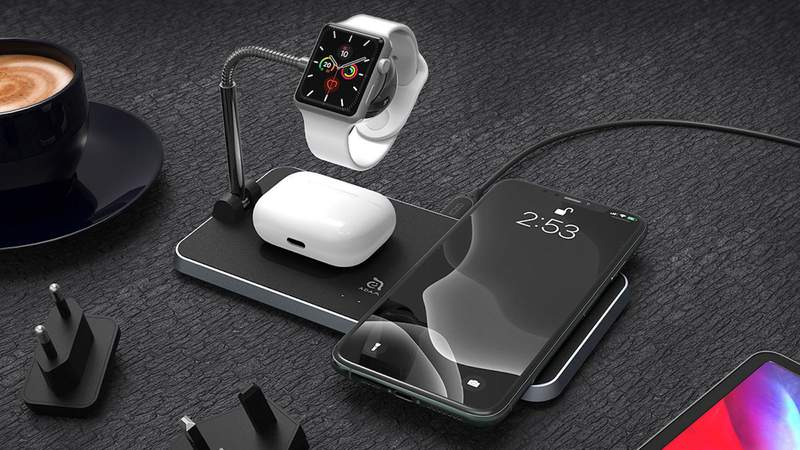 Keep all your devices charged at 100% with this wireless charging station.