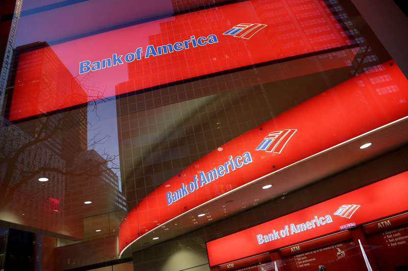 FILE - This Nov. 23, 2015, file photo, shows a branch office of Bank of America, in New York. Bank of America says its second-quarter net income more than doubled to $9.22 billion from $3.53 billion a year ago. The Charlotte, North Carolina-based bank said Wednesday, July 14, 2021, that it had earnings of $1.03 per share for the quarter ended June 30, up from 37 cents in the year-ago quarter. The results topped Wall Street expectations. (AP Photo/Mark Lennihan, File)