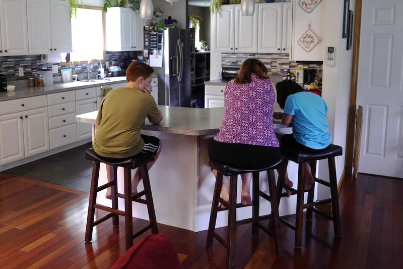 Jennifer Osgood, center, helps her children Lily, 7, right, and Noah, 12, left, portion    studying astatine  the room  antagonistic  successful  the family's home, Tuesday, July 20, 2021, successful  Fairfax, Vt. The Osgood children volition  proceed  to beryllium  homeschool this upcoming schoolhouse  year. (AP Photo/Charles Krupa)