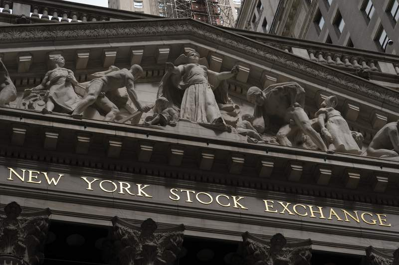 FILE - The front of the New York Stock Exchange is shown, Monday, May 24, 2021. Stocks are opening solidly higher on Wall Street Friday, June 11 keeping the S&P 500 on track for its third weekly gain in a row. The benchmark index was up 0.1%. (AP Photo/Mark Lennihan, File)