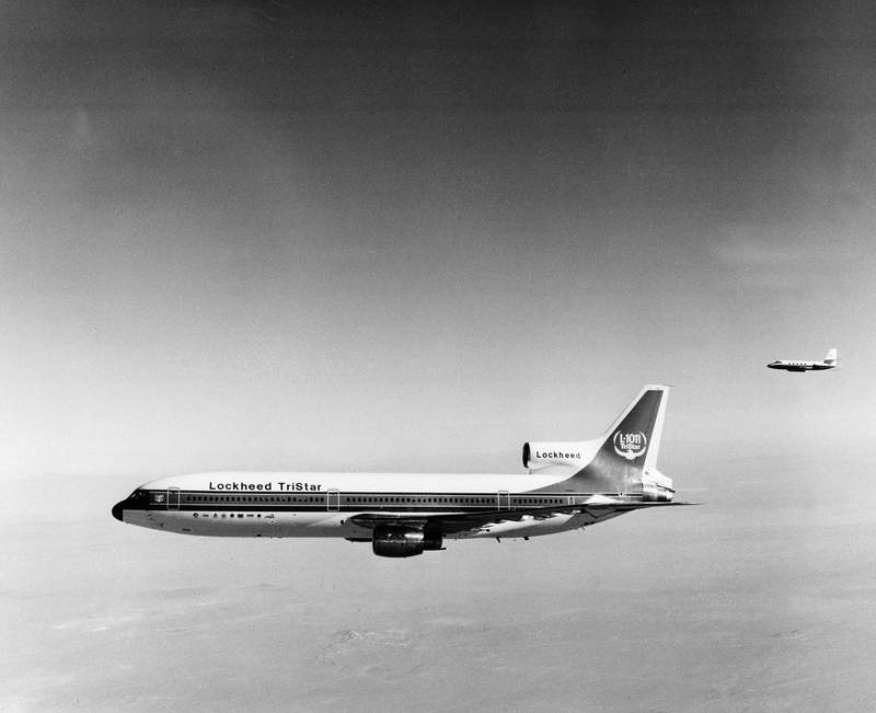 The Lockheed TriStar L-1011 airplane is shown in the air during its first test flight from Palmdale, Ca., Nov. 16, 1970.  The company's version of the jet airbus, powered by three Rolls Royce turbofan engines, is designed to compete with Boeing's 747 and the McDonnell Douglas DC10.  (AP Photo)