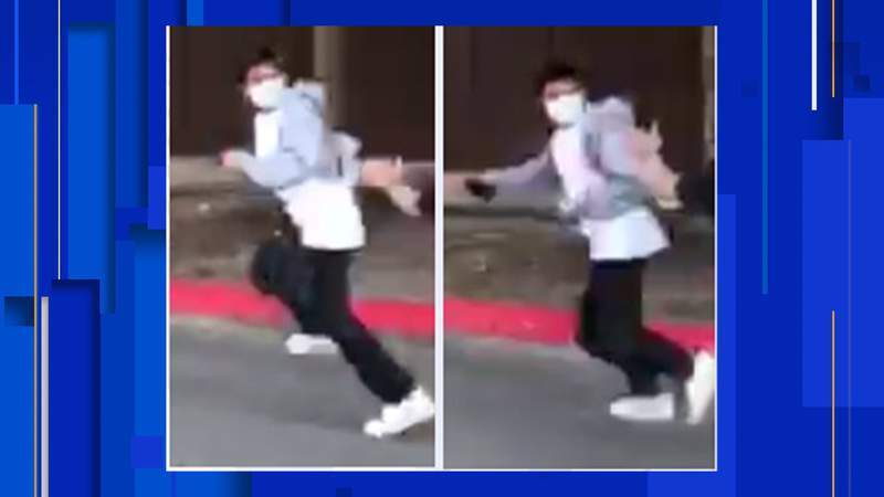 Police are searching for a suspect in an aggravated robbery that happened on Oct. 18, 2020, in the parking lot of a shopping center in the 21100 block of U.S. Highway 281 North, near Evans Road.