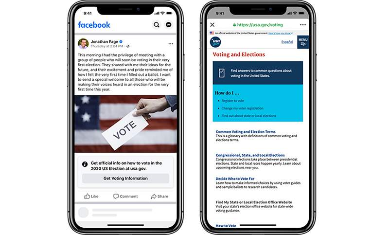 This image provided by Facebook shows an example of a post with information about voting.  Facebook has started labeling all posts about voting by federal elected officials and candidates in the U.S. On Tuesday, July 21, 2020, the labels appeared on posts by President Donald Trump and by Joe Biden, the presumptive Democratic presidential nominee, among others.   (Facebook via AP)