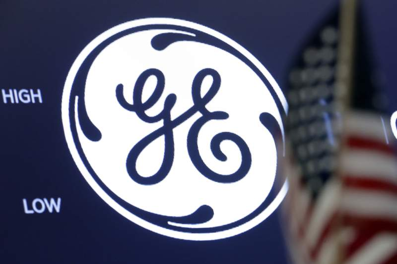 FILE - In this June 26, 2018, file photo the General Electric logo appears above a trading post on the floor of the New York Stock Exchange. Irelands AerCap Holdings confirmed that it is in talks to buy General Electric's aircraft leasing business as the former industrial conglomerate continues to divest from the non-core businesses that nearly sank it during the 2008 financial crisis. (AP Photo/Richard Drew, File)