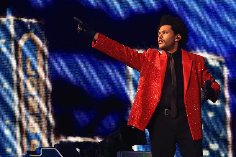 The Weeknd performs during the Pepsi Super Bowl LV Halftime Show at Raymond James Stadium on February 07, 2021 in Tampa, Florida. (Photo by Mike Ehrmann/Getty Images)