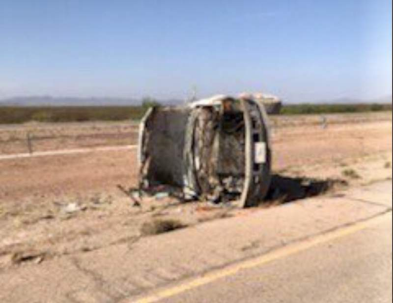 The Border Patrol says at least six people were injured when a semitrailer cut off one of its vans on a West Texas highway, forcing it off the road. Images: TxDOT