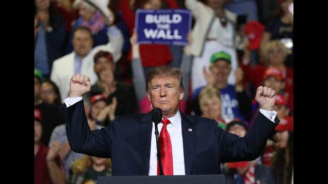 EL PASO, TEXAS - FEBRUARY 11: U.S. President Donald Trump speaks during a rally at the El Paso County Coliseum on February 11, 2019 in El Paso, Texas. Trump continues his campaign for a wall to be built along the border as the Democrats in Congress are asking for other border security measures. (Photo by Joe Raedle/Getty Images)