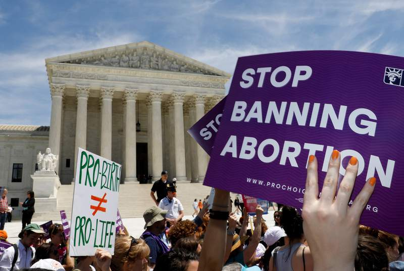 Abortion rights activists rallied outside the U.S. Supreme Court in Washington, D.C., on May 21, 2019.