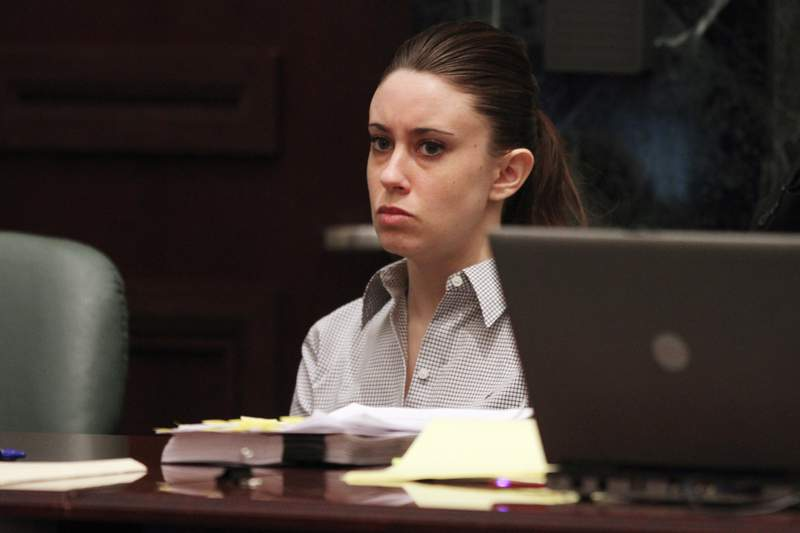 Casey Anthony listens to the testimony of Krystal Holloway, who claims to have had an affair with Anthony's father, during her murder trial at the Orange County Courthouse on June 30, 2011 in Orlando, Florida. Anthony's defense attorneys argued that she didn't kill her two-year-old daughter Caylee, but that she accidentally drowned. (Photo by Red Huber-Pool/Getty Images)